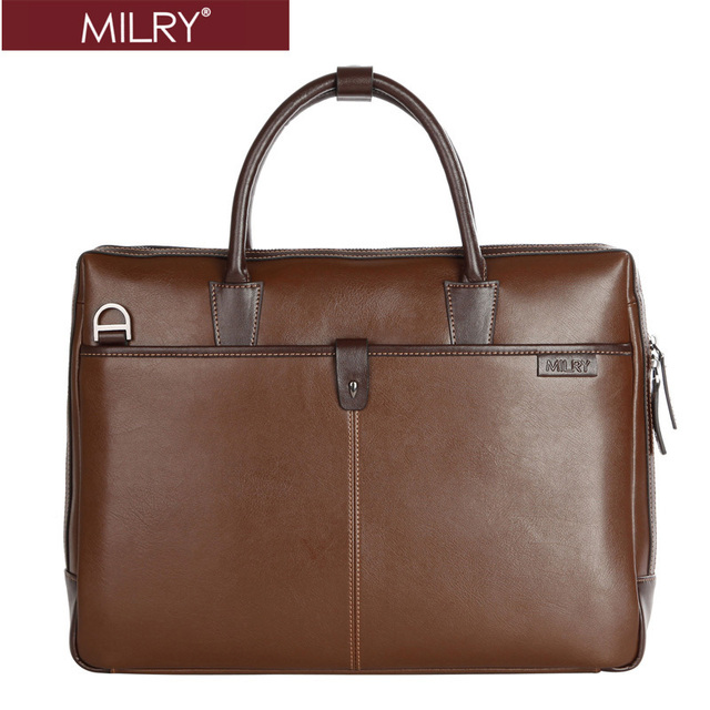 Free shipping Brand MILRY 100% Genuine Leather Business men Briefcase handbags messenger shoulder laptop bag Coffe CP0016-2