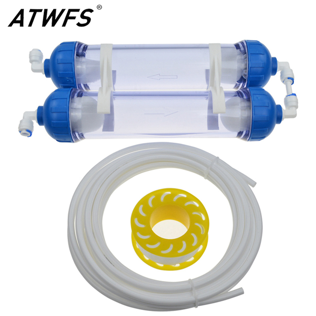 """2 Stage Water Filter Housing DIY T33 Shell Filter Bottle 1/4"""" Tube Fittings Thicken with Pipe Reverse Osmosis Aquarium Filter"""