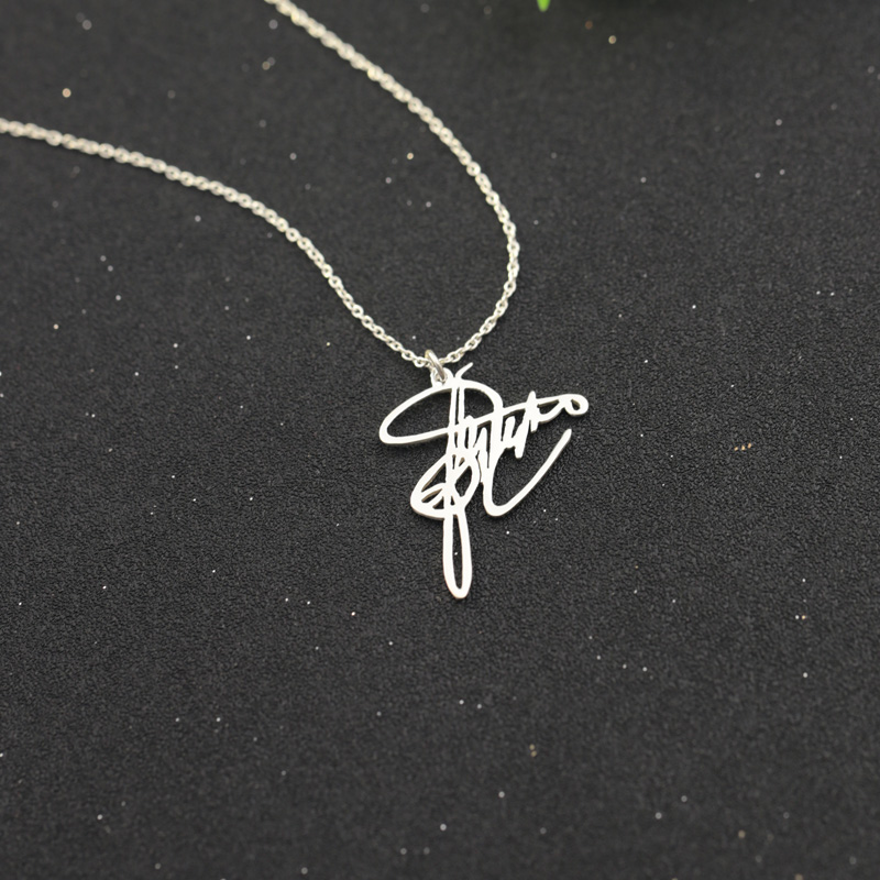 Solid Silver Customized Signature Nameplate Necklace Personalized Handwritten Memory Pendant Jewelry Special Christmas Gift
