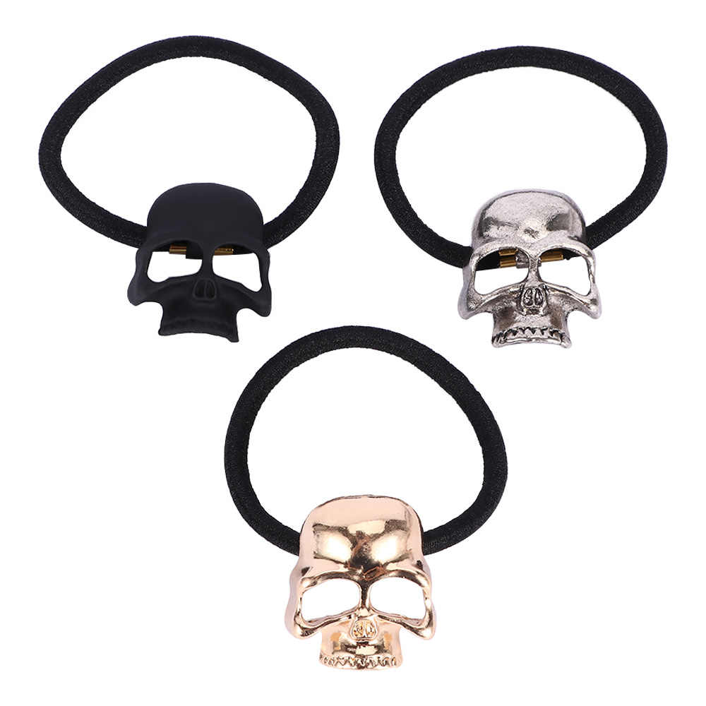 3 Colors 1Pc Retro Metal Punk Gothic Hair Bands Skull Hair Clip Jewelry Halloween Xmas Gift