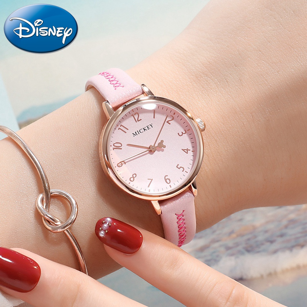 Disney Mickey Mouse Ladies Leather Strap Quartz Waterproof Watch Women Pink Red Clock Girl Love Watches Best Gift Student Reloj