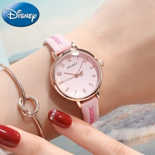 Disney Mickey Mouse Ladies Leather Strap Quartz Waterproof Watch Women Pink Red Clock Girl Love Watches Best Gift Student Reloj genuine disney roman type women dress best quality leather antique watches girl fashion casual quartz watch famous hour mickey