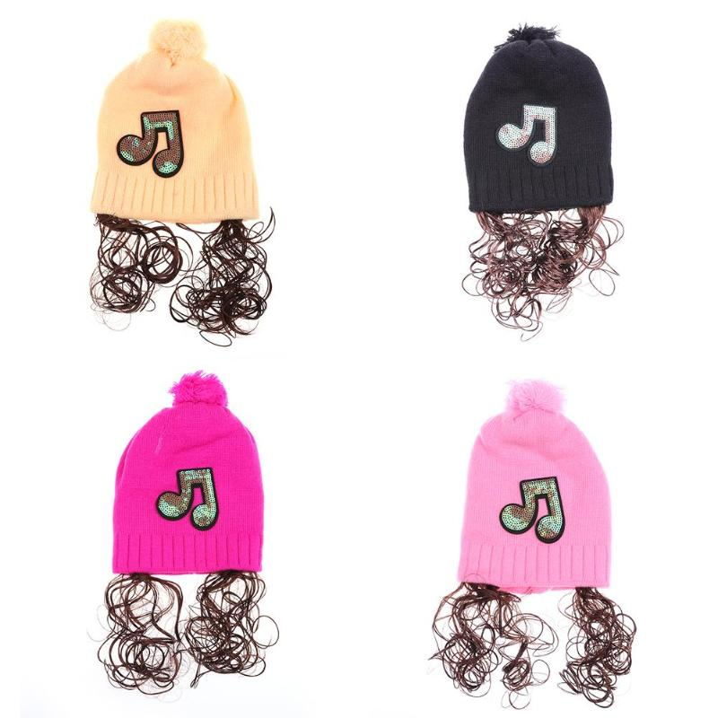 100% Quality 3-18m Autumn Baby Girls Cute Hats Sequins Note Wig Knitted Hats Kids Bonnet Cap Winter Warm Hat Casual Decoration Reliable Performance