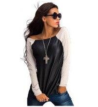 2016 Tops New Fashion PU Leather Women Long Sleeve Crew Neck T-Shirt Slim Fit Tops Black Punk Clothing S-XL