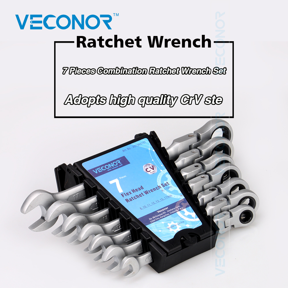 Veconor 7pcs/set flexible head ratchet gears wrench set repair tools torque wrench combination spanner 8~17mm chrome vanadium 20pcs m3 m12 screw thread metric plugs taps tap wrench die wrench set