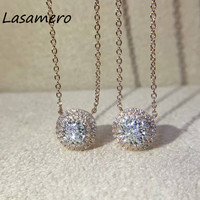 LASAMERO Halo 0.081 CT Round Cut 18k Gold Natural Diamond Center Pave Set Pendant Necklace Chain Fine Jewelry for Women