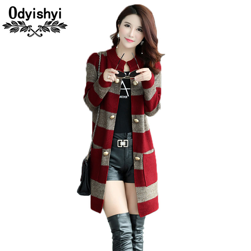 Striped Long Style Women Cardigan Loose Jackets Large Size Coats Autumn Lady Sweater 2018 Long sleeves Female cardigan Tops HS44