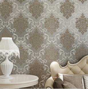 Luxury 53CM1000CM Flock Non Woven Metallic Floral Damask Wallpaper