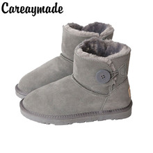 Careaymade-Ladies winter buckles snow shoes,womens short tubes Korean version cute wild skin students warmth  thickening boots