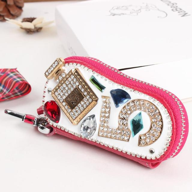 New Fashion Perfume Bottle 5 Genuine Cowhide Leather Crystal Purse Bag Key Holder Wallet  Jewelry Women Creative Party Gift