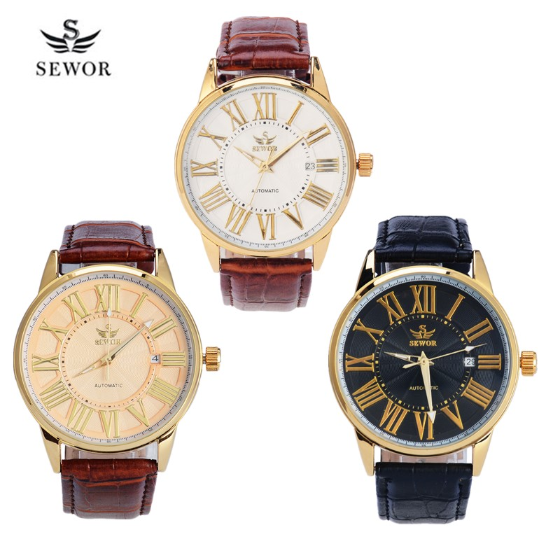 Automatic Mechanical Watches Men Retro Roman Number  Self Widing Mens Wrist Watches Business Date Male Antique Leather Clock 40