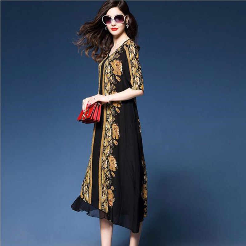 Роскошное платье 2018 летнее платье большого размера шелковое шифоновое платье балахон длинное платье принт большого размера шикарная модная женская одежда 3XL QC426