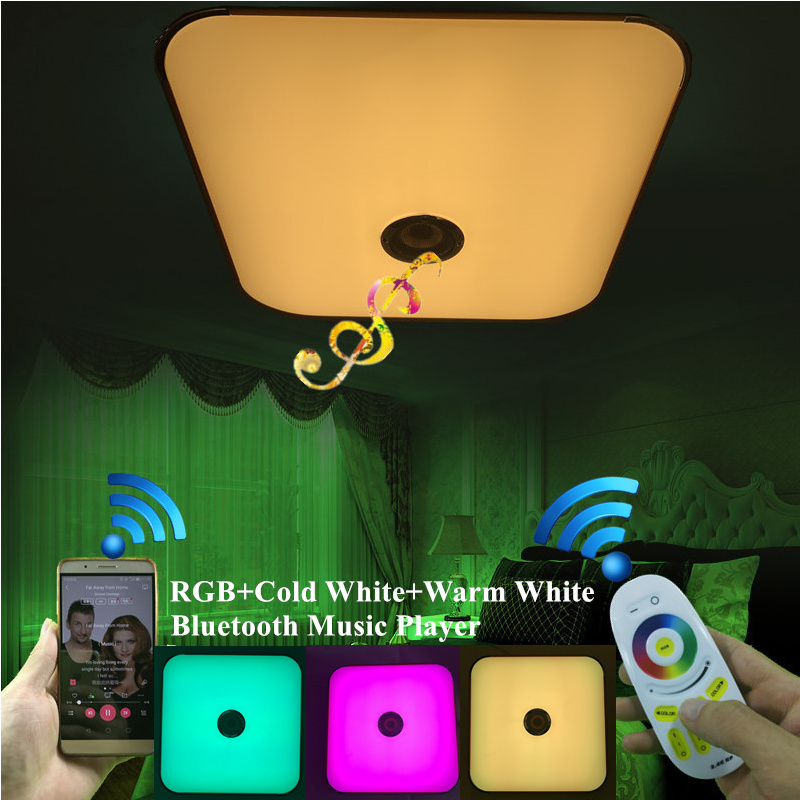 wongshi Modern Silver Gold RGB Colorful Remote Control Bluetooth Music Player Ceiling Lamp For Children Bedroom Livingroom