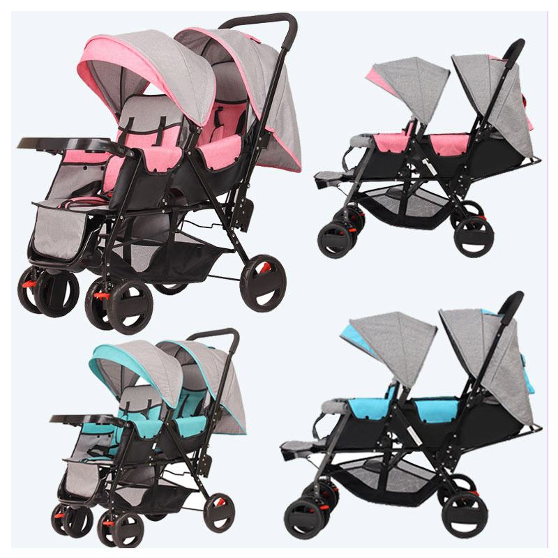 Twins Baby Stroller Carriage Cart Light Folding Front and Back Seats Can Lie 180 Degree Double Baby Stroller for Twins Pushchair