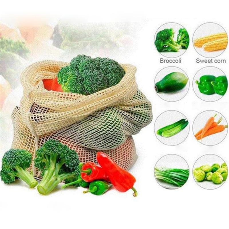 Reusable Fruit Vegetable Bags Eco Friendly Cotton Mesh Bags ecologico Produce Storage Bags Home Kitchen Organizer