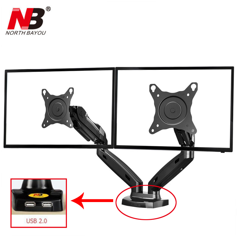 Gas Spring 360 Degree Desktop 17-27 Dual Monitor Holder Arm NB F160 with Two USB Ports 2.0 Full Motion Dual Monitor Support nb f180 gas spring full motion 17 27 dual screen monitor holder desktop clamping or grommet tv mount with usb and audio port