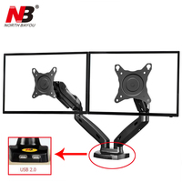 Gas Spring 360 Degree Desktop 17 27 Dual Monitor Holder Arm NB F160 with Two USB Ports 2.0 Full Motion Dual Monitor Support