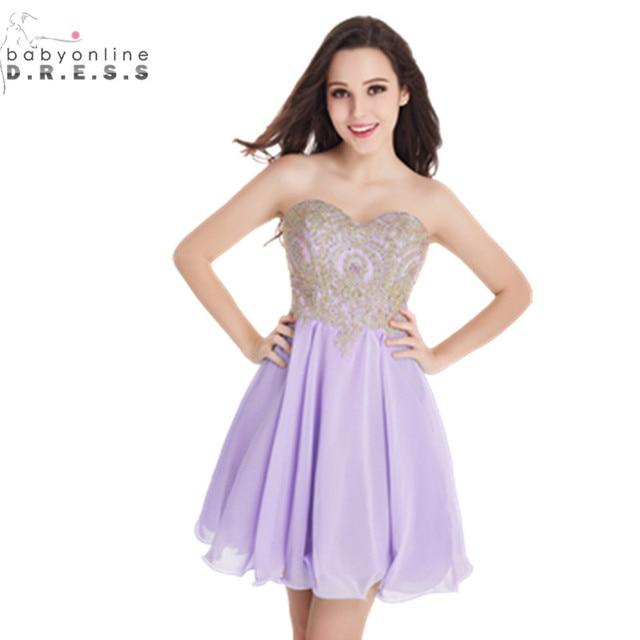 Vestido de Festa Curto 2017 Black Lavender Lace Short Prom Dresses ...