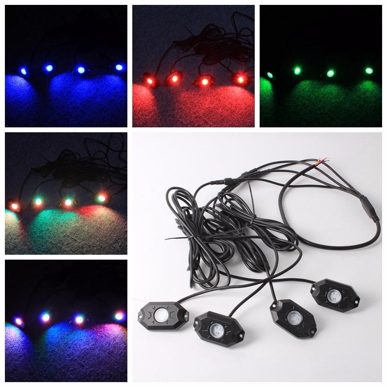 Function 4x Bluetooth Pod RGB Mini Rock Under Vehicle LED Flush Lights
