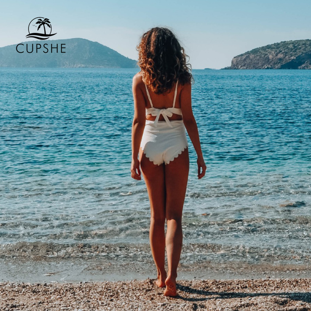 57d88d9d76 CUPSHE White One Piece Scalloped Swimsuit Women Solid Tied Monokini Bathing  Suits 2019 Girl Sexy Swimwear-in Body Suits from Sports & Entertainment on  ...