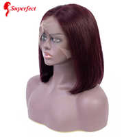 Superfect Brazilian 13x4 Lace Front Human Hair Wigs Pre Plucked Natural Hairline Remy Short Bob Lace Front Wig For Black Women