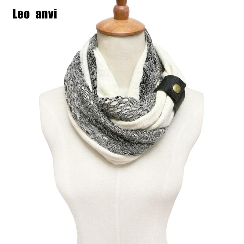 Anvi Leo anel Cachecóis estilo Fashion designer Branco Marinha rendas inverno mulheres algodão colorido de crochê Infinito lenço Feito Malha