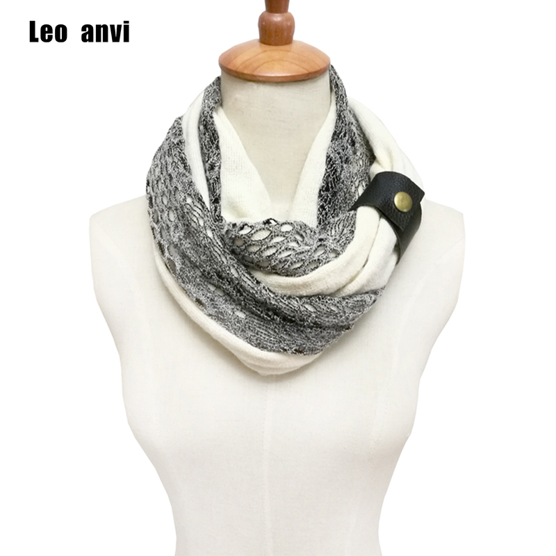 Leo anvi Fashion designer White Navy winter lace ring Scarves style women cotton colorful crochet Infinity Knitted scarf
