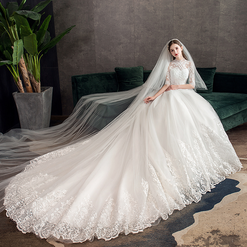 Mrs Win Lace Embroidery Wedding Dress With Big Train 2020 High Neck Half Sleeve Wedding Gown Vintage Bridal Gown X