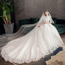 Pani Win koronkowa suknia ślubna z haftem z dużym pociągiem 2020 na szyję pół rękawa suknia ślubna suknia ślubna w stylu Vintage X