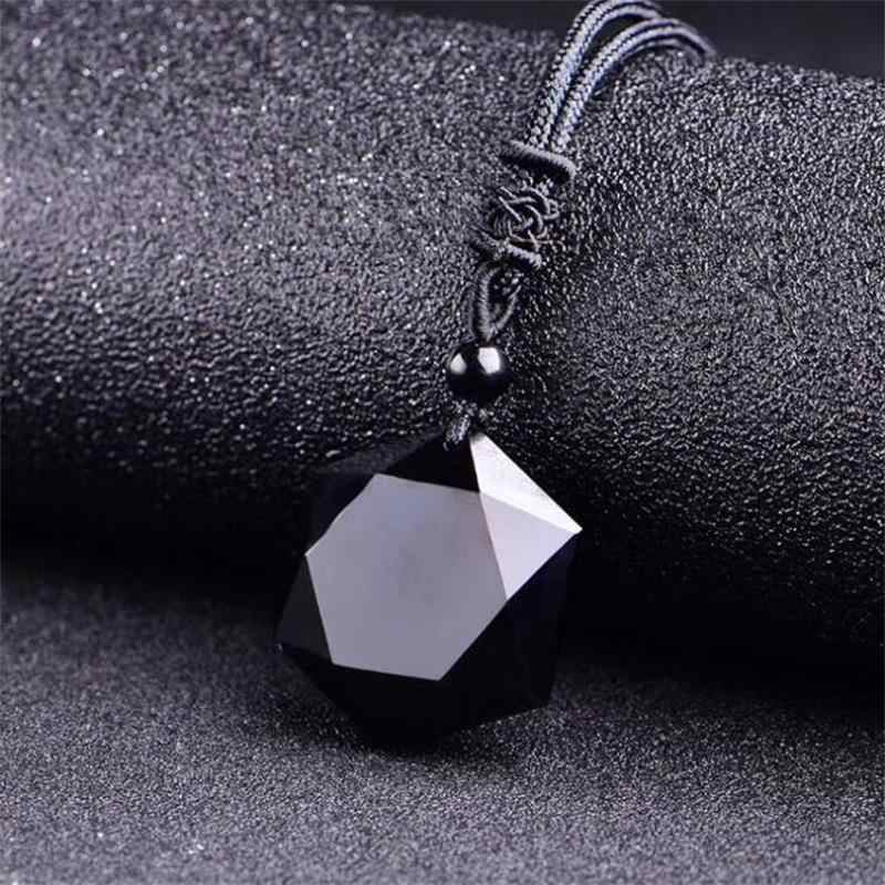 Black Obsidian Natural Stone Pendant 5000CC Necklaces For Women and Men Cubic Hexagram Sweater Necklace Amulets Jewelry