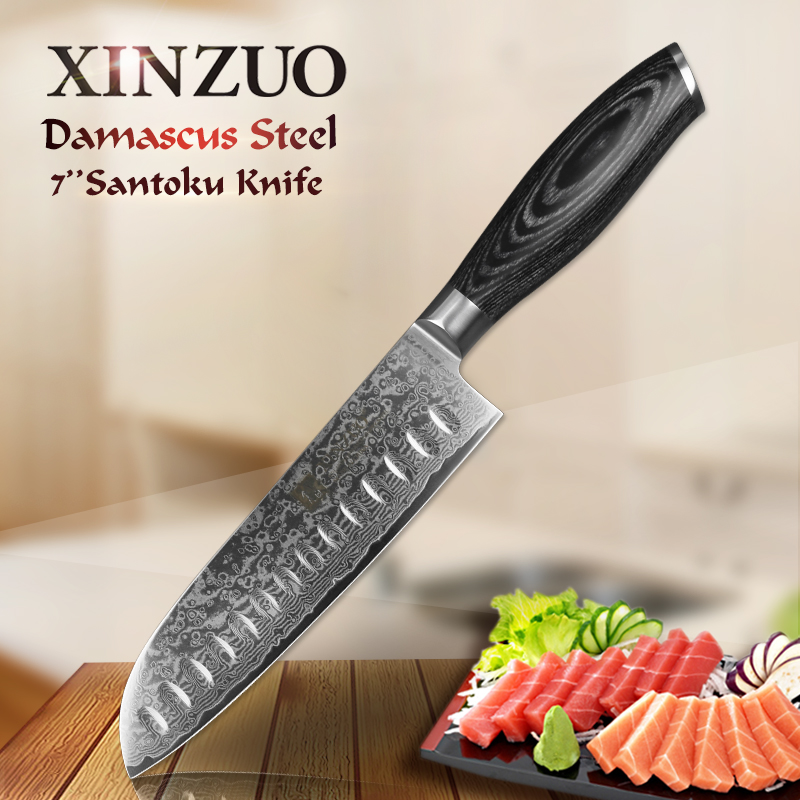 "XINZUO 7 ""palec Santoku Knife 67 Layer High Carbon Damascus Steel Cooking Tool Japonské šéfkuchaře kuchyňské nože s dřevěnou rukojetí Pakka"