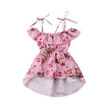 Floral Toddler Kids Baby Girl Clothes Split back long front short dress Off  Shoulder Jumpsuit Outfits 1d0b4a87ae24
