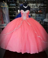 2018 New Beaded Pink Quinceanera Dresses Ball Gown Lace Up Sweet 16 Dress For 15 Years