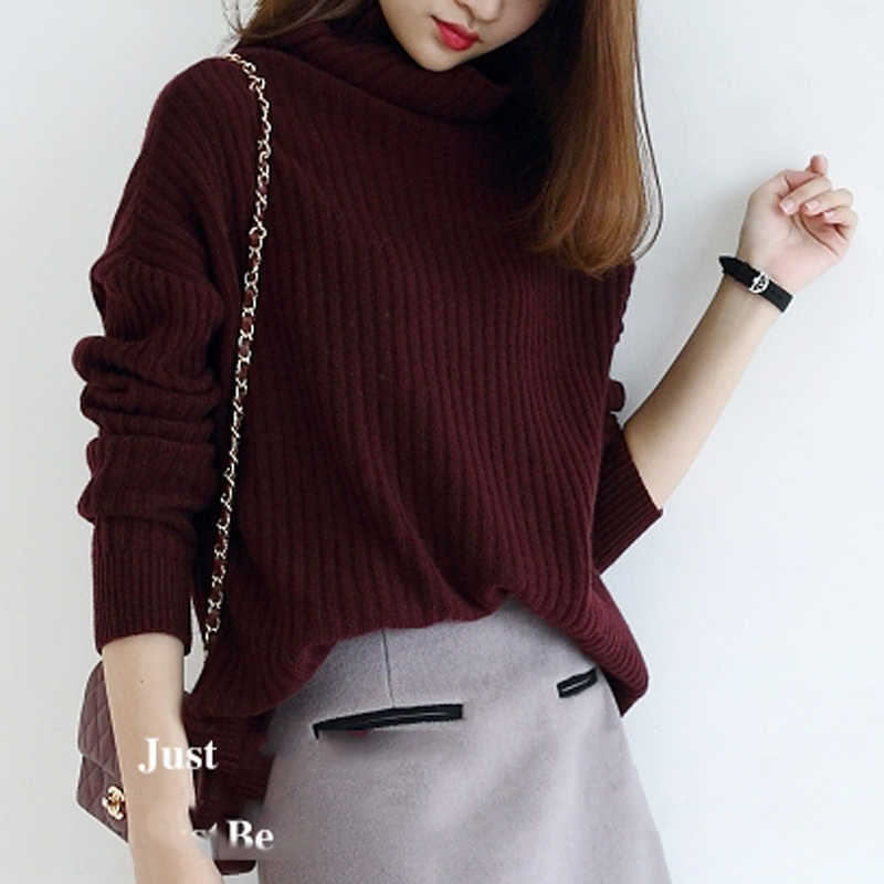 Sweater Wanita 100% Cashmere dan Wol Rajut Jumper Wanita Turtleneck Pullover Longgar Gaya Gadis Pakaian Rajut Musim Dingin Standar Atasan
