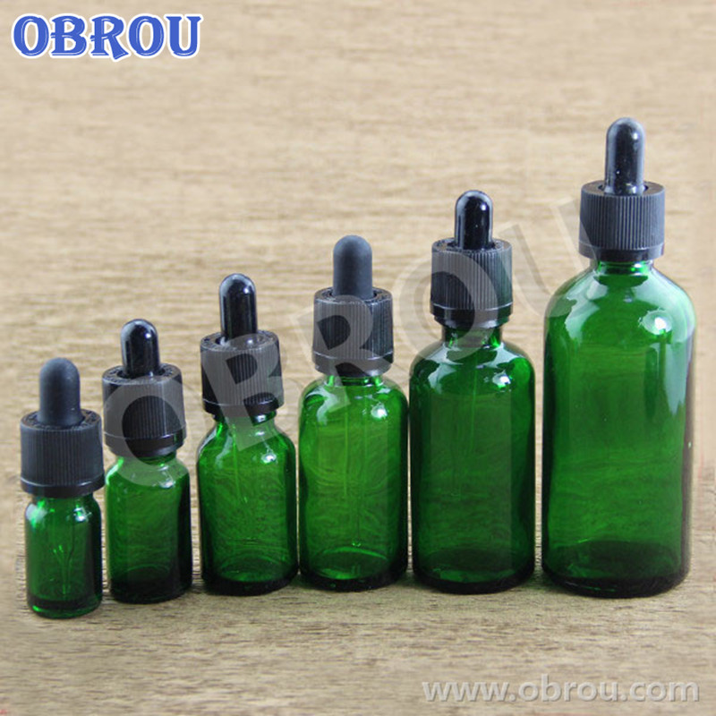 Free shiping small quantity beard care packaging 5ml to 100ml green glass dropper bottle glass pipette for essential oil lotion