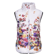 New 2016 Fashion Winter Vest Women Cotton Down O-Neck Printed Flowers Women Jacket Vest Coat Plus size 5XL Female Casual Outwear