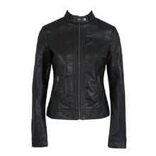 Fashion Vintage Slim Short Biker Motorcycle Jacket PU Soft Faux Leather Zipper Black Coat Outwear For