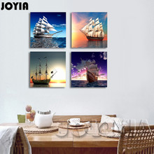 multi 4 panel canvas wall art painting sail on sea seascape ships artistic wall pictures for living room study office no frame