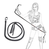 CamaTech 2M 200CM Long PU Leather Whips Sexy Ass Spanking Knout Queen Roleplay Lash Flogger Fetish