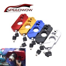 SPEEDWOW CNC Motorcycle Handlebar Lock Grip Handset Brake Lever Disc Locking For Honda Kawasaki Yamaha