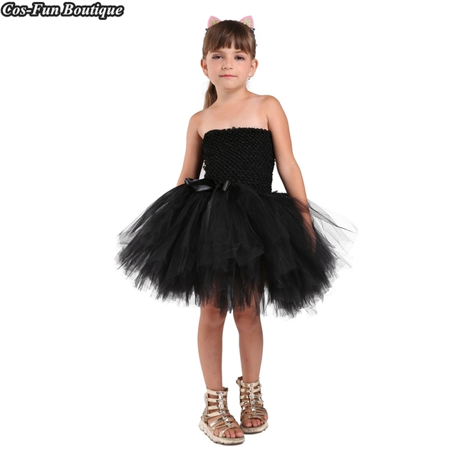 a654bc6737 PRINCESS TUTU Black Cat Girl Dress Sleeveless Tulle Sexy Costume Girls  Party Dress Animal Halloween Costumes