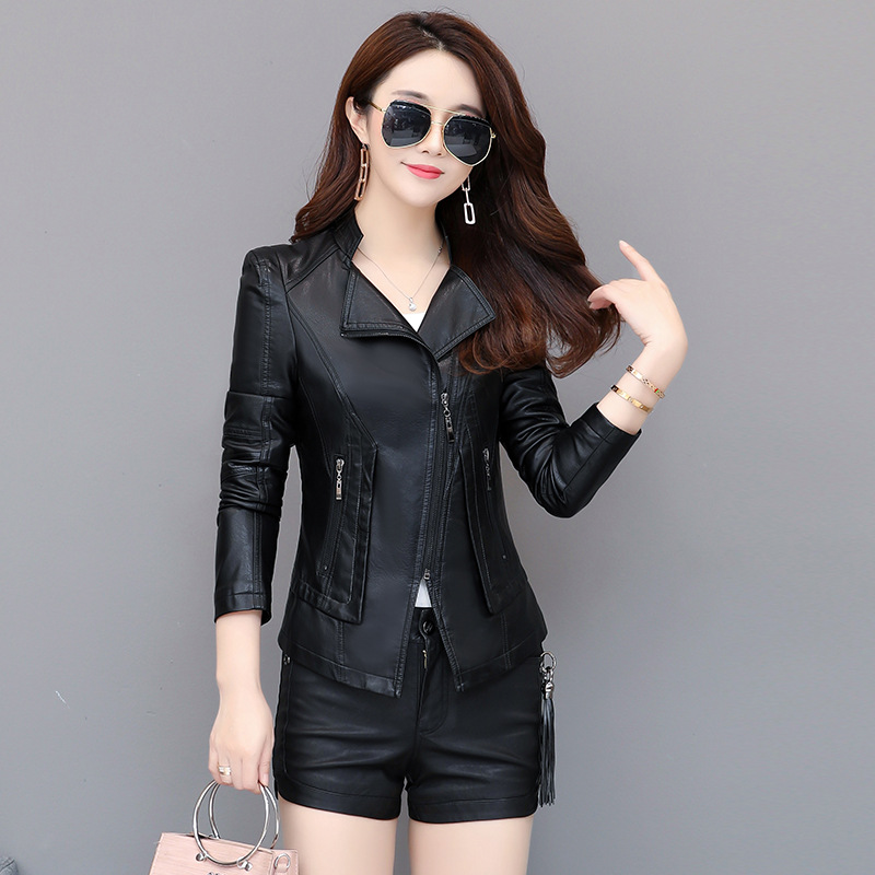 Women's   Leather   Jacket Faux Motorcycle   Leather   Jacket 2019 New M-4XL Plus Size Casual Turn Collar Zipper Pocket Female Coat