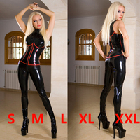 2016 Hight Quality Sexy Sleeveless PVC Catsuit Black Faux Leather Latex Bodysuit Crotch Zipper Jumpsuit Costumes
