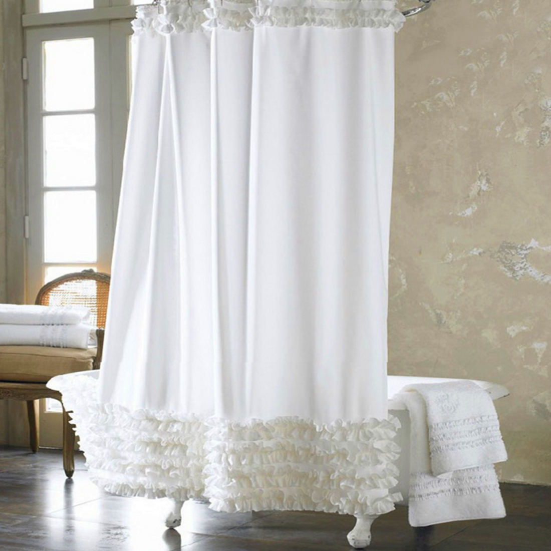 Image 4 - Promotions Home Decoration Bathroom Shower Curtain Waterproof Solid Polyester Fabric Lace Bath Curtain Elegant Cortina +12 Hooks-in Shower Curtains from Home & Garden