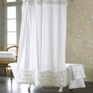 Image 1 - Promotions Home Decoration Bathroom Shower Curtain Waterproof Solid Polyester Fabric Lace Bath Curtain Elegant Cortina +12 Hooks