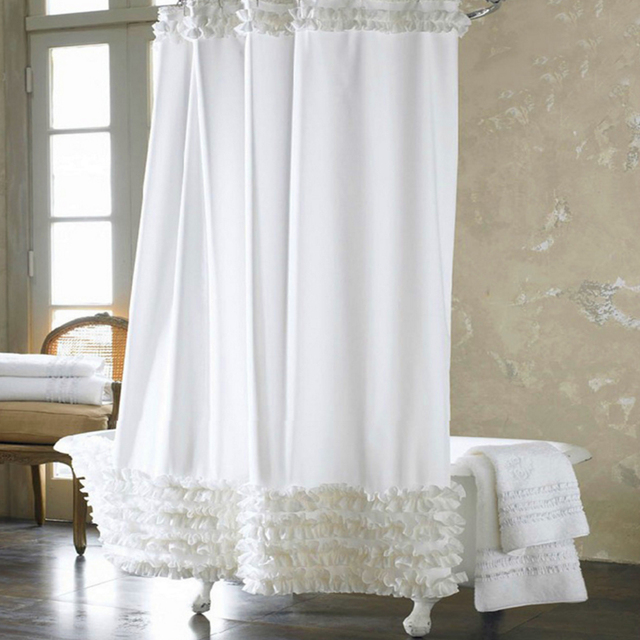 Promotions Home Decoration Bathroom Shower Curtain Waterproof Solid Polyester Fabric Lace Bath Curtain Elegant Cortina +12 Hooks