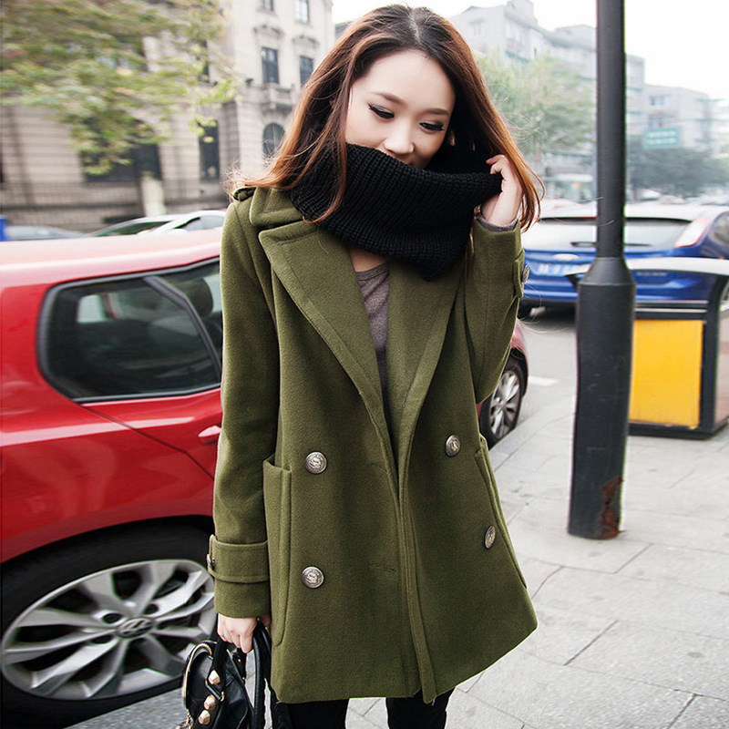 Hot Sale Spring Wool Coat Women New Fashion Double Breasted Solid Color Parkas Thicken Turn-Down Collar Coat Wool Female MZ793 2016 new fashion fur collar women coat sexy ladies wool sweater double breasted thick skirt cotton dress 3 colors size s 2xl page 4 page 5 page