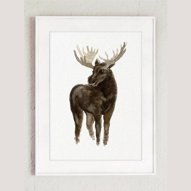 Canvas Moose Deer Watercolour Painting, Living Room Animal Wall ...