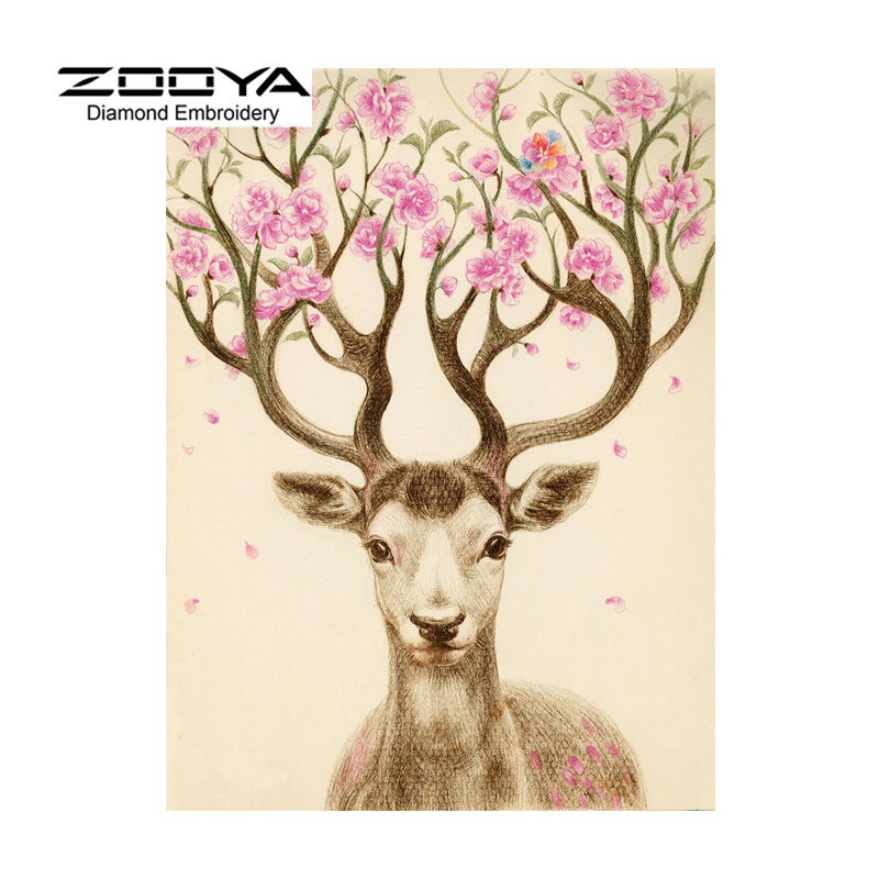 ZOOYA 5D DIY Diamond Painting Animal Deer Diamond Painting Cross Stitch Beautiful Deer Animal Needlework Home Decorative BJ1195
