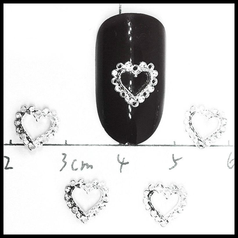 50Pcs Heart Nail Art Decorations Silver Gold Metal Studs Charms Jewelry Nailart Ornaments Japan 3d Accessories Diy Hollow Design